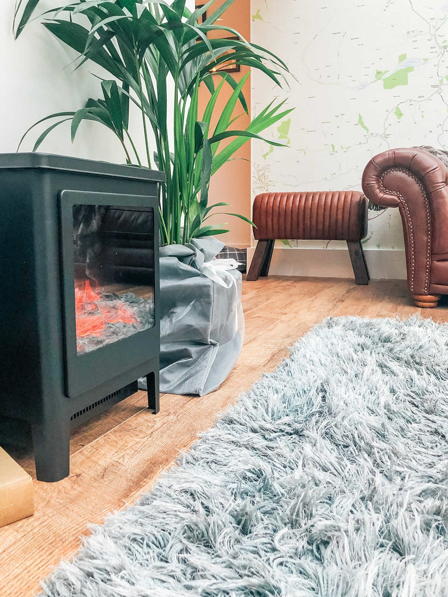 Von Haus electric fire, adding finishing touches to a garden room