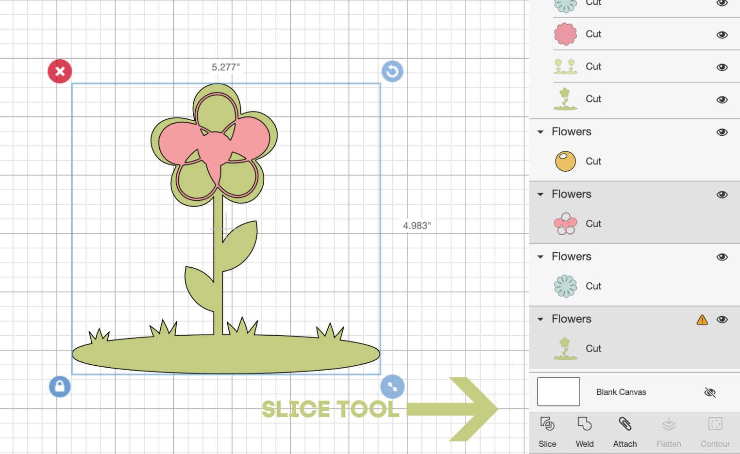 Where is the slice tool on Cricut Design Space