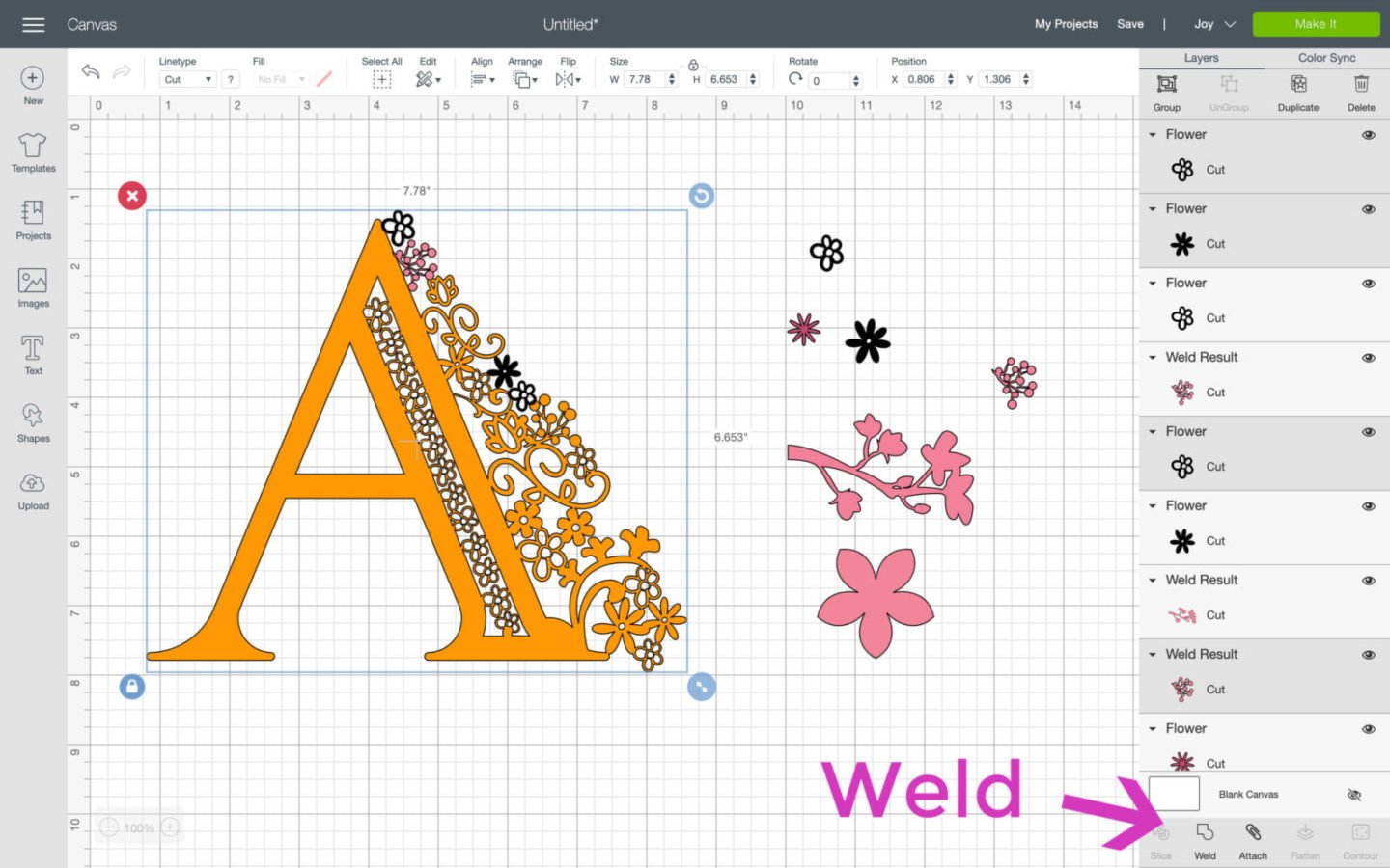 Where is weld in Cricut Design Space
