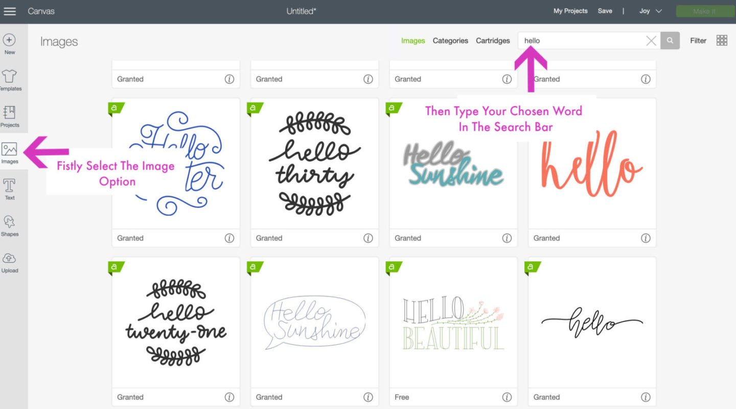 Words in Cricut Design Space