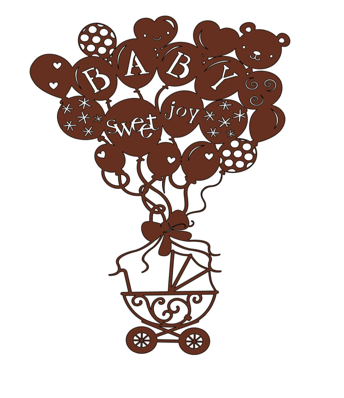 Baby balloons paper cut made on Cricut