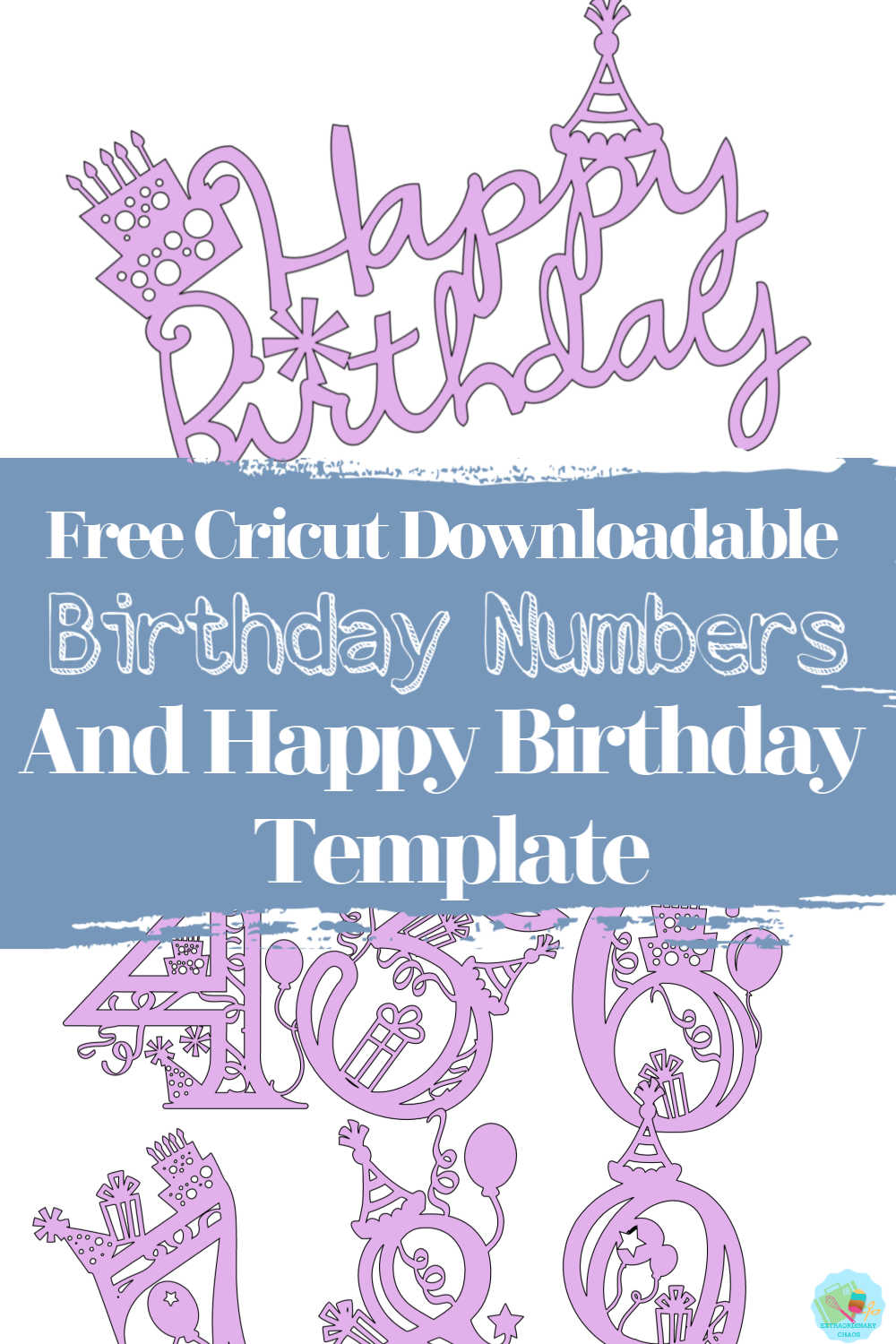 Free Cricut Downloadable Happy Birthday Numbers and template for themed birthday parties