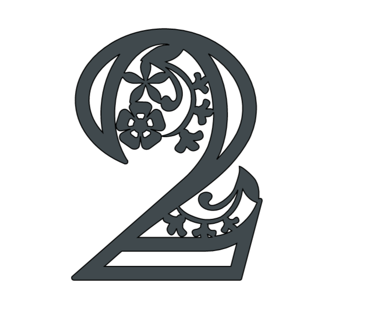 Free Floral Paper Cut Numbers, 2