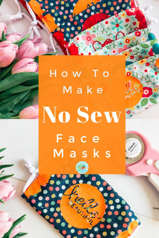 How to make comfy no sew face masks with cricut iron on vinyl #cricutmakes #cricutprojects #nosewfacemaks