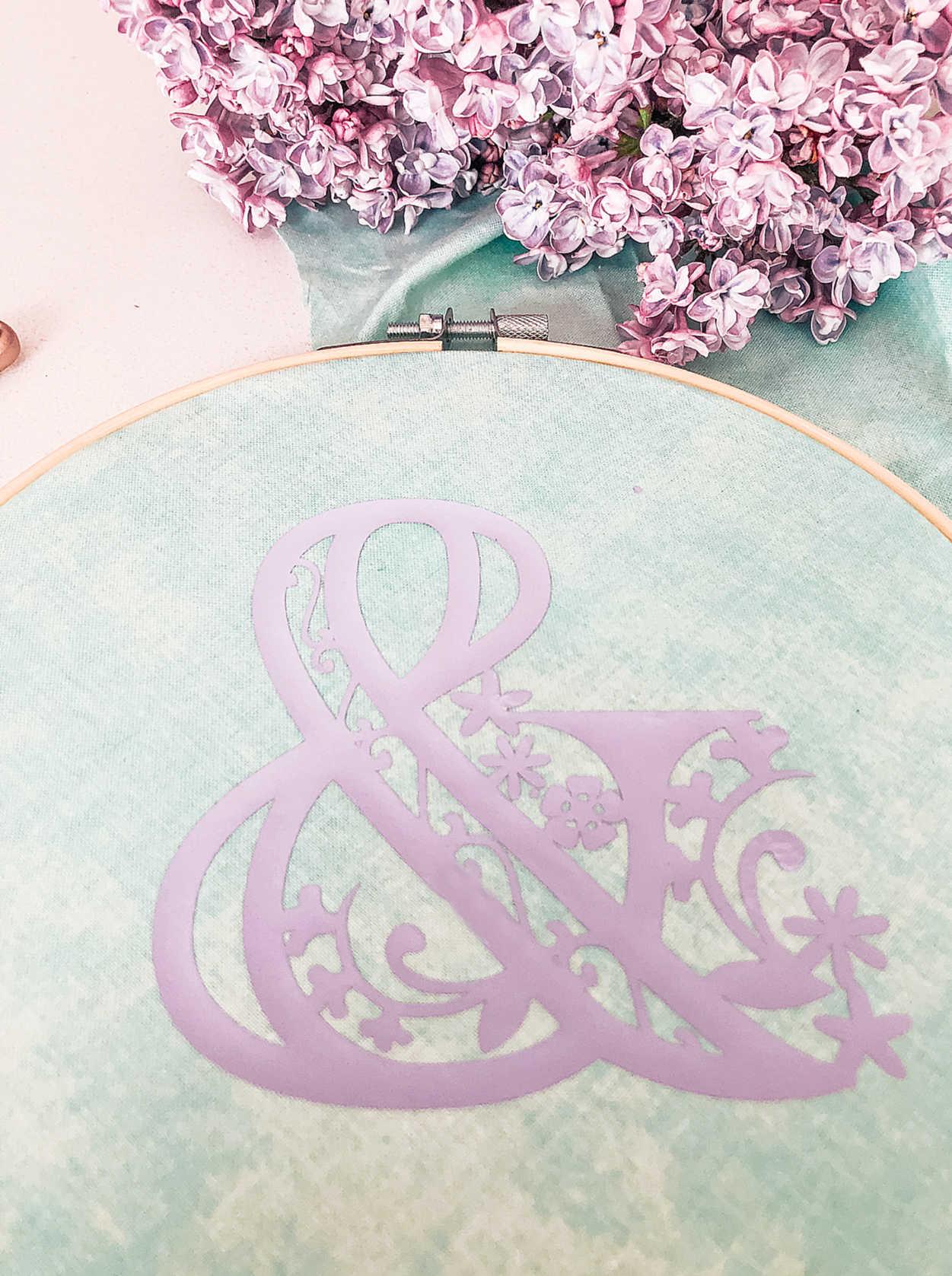 DIY Embroidery Hoop With Cricut Iron On Vinyl