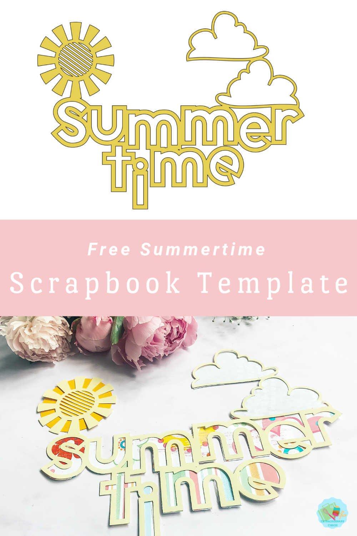 Free summertime scrapbook cut file template for summer scrapbook layouts