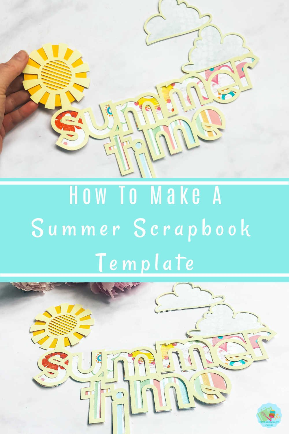 How to make a summer layout scrapbook template in Cricut Design Space and summer titles ideas