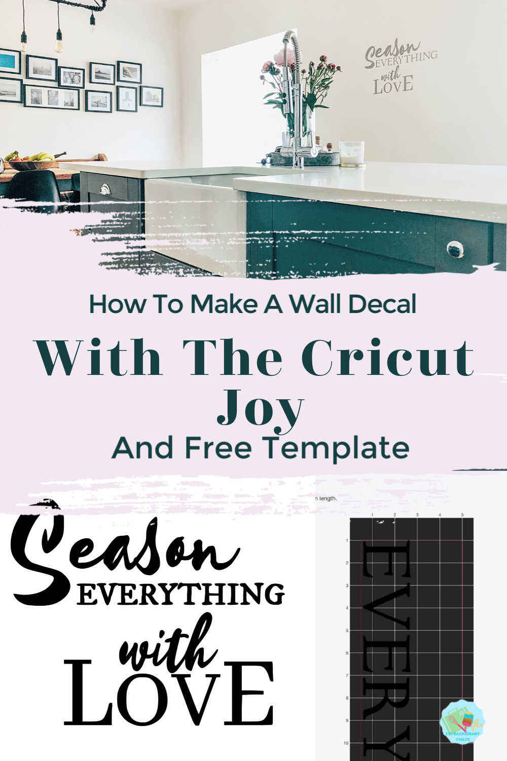 How to make a wall decal for the kitchen with the Cricut joy and free downloadable template