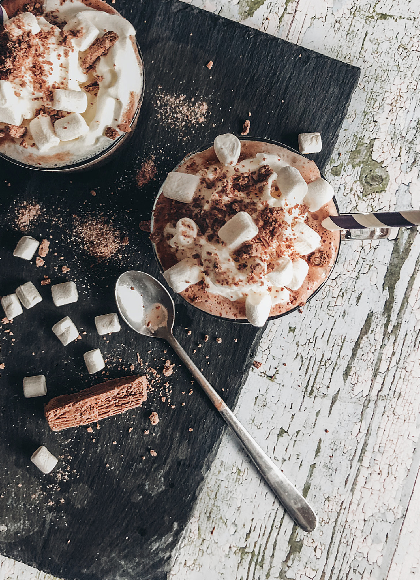 Add a crushed flake, marshmallow and squirt cream to your boozy hot chocolate