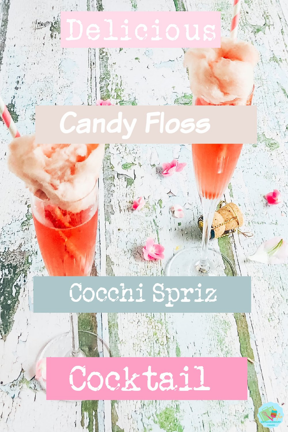 Cocchi and prosecco spritz with candy floss cocktail for parties and garden parties