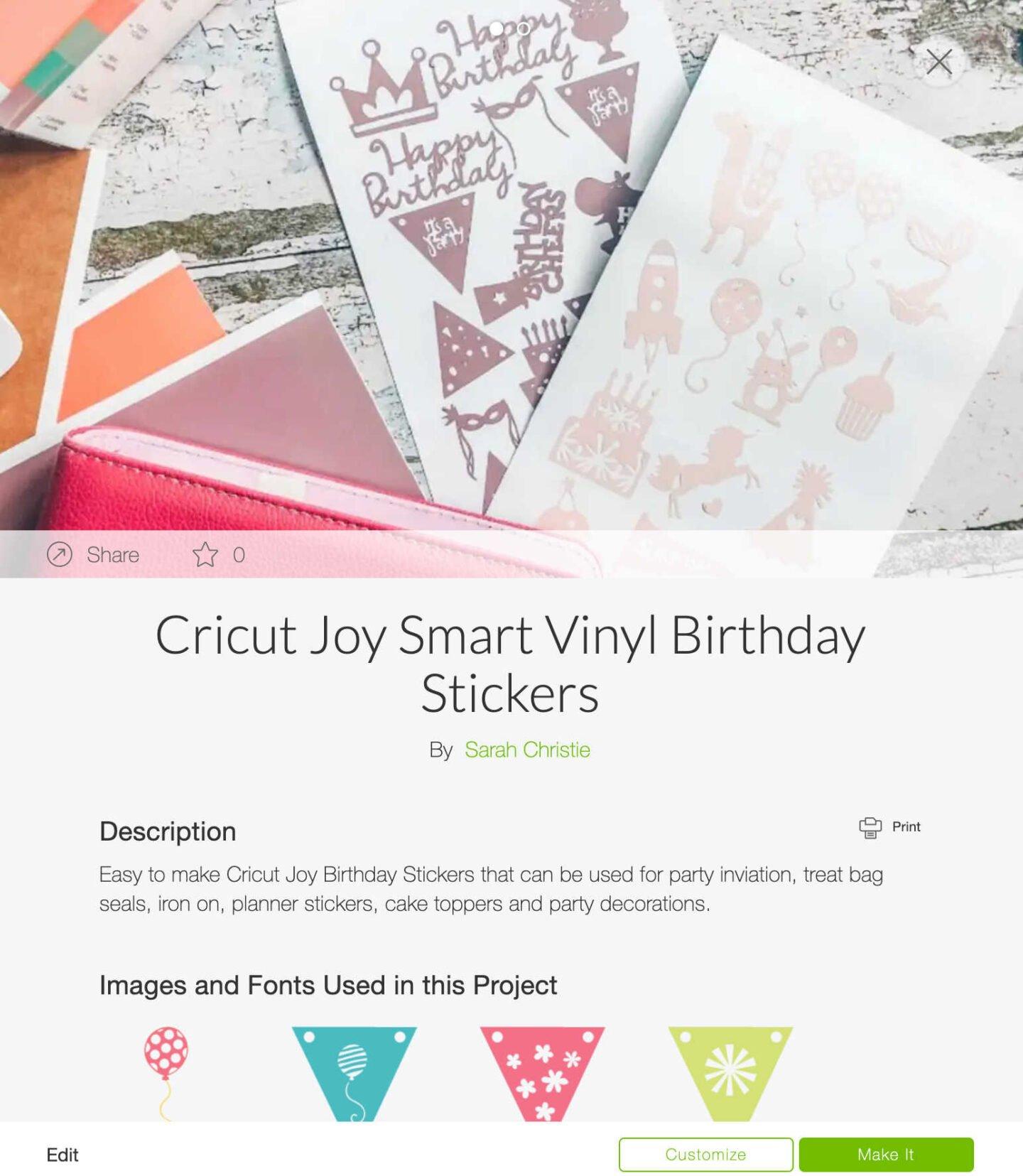 Cricut Joy Smart Vinyl Birthday Stickers Design Space Template