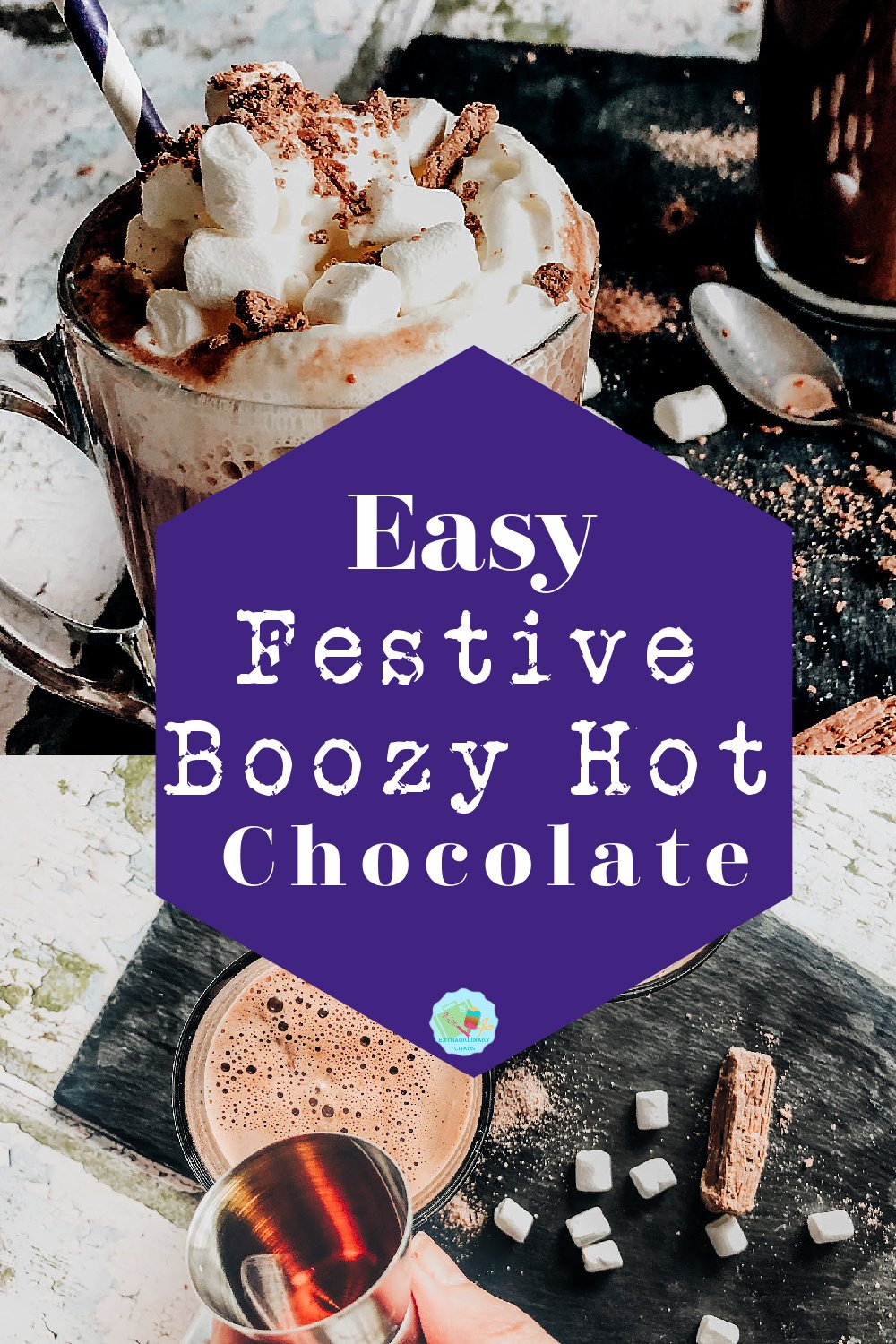 Easy bourbon boozy hot chocolate recipe for festive cozy nights by the fire with a hot alcoholic hot chocolate drinks with crushed chocolate