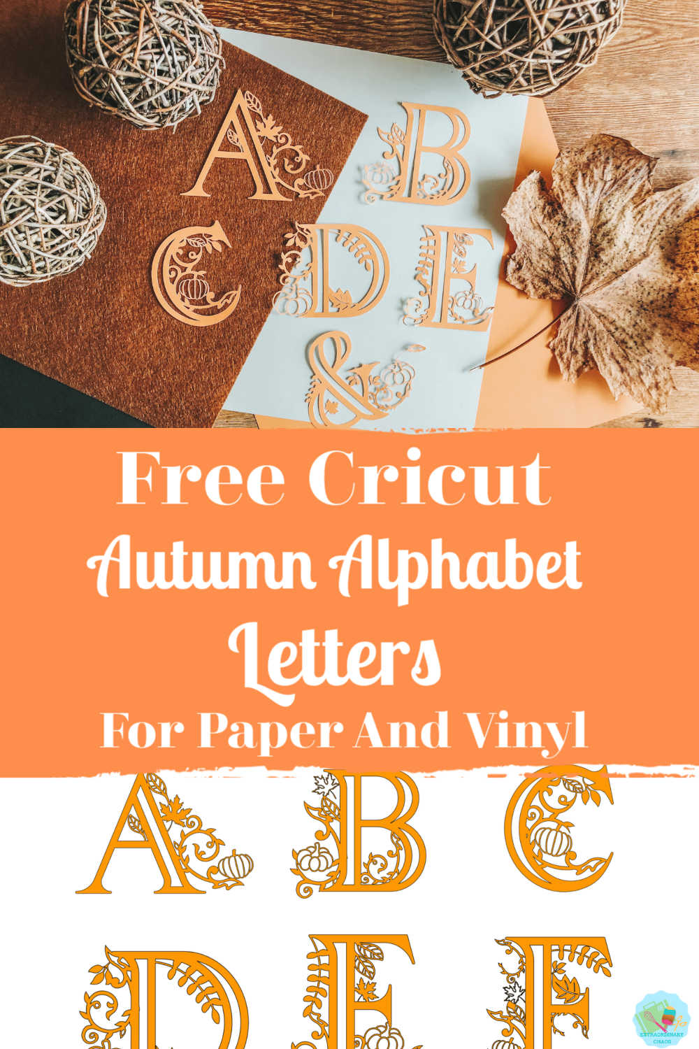 Free Cricut Autumn/fall Alphabet letters for paper and vinyl projects