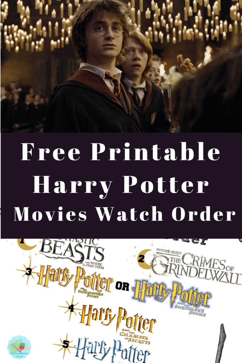Free Printable Harry Potter Movies Watch Order