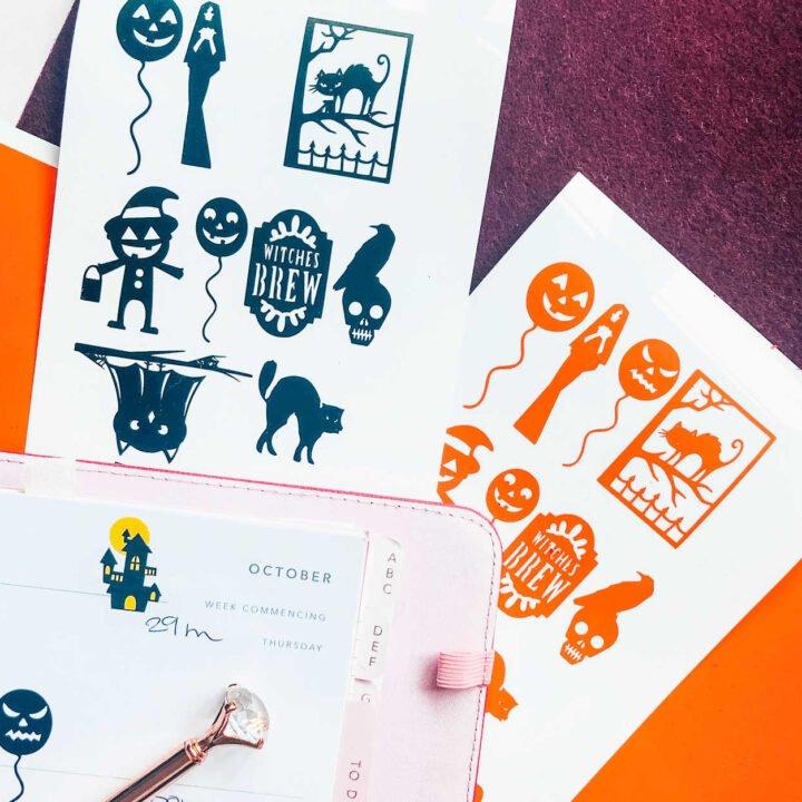 Free downloadable Halloween sticker templates for the Cricut Joy