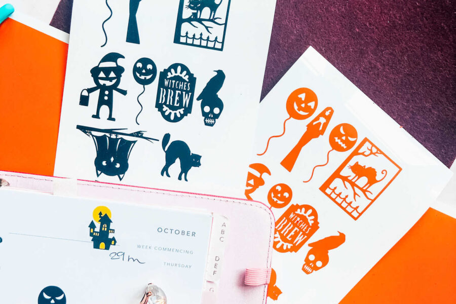 Free downloadable Halloween sticker templates for the Cricut Joy