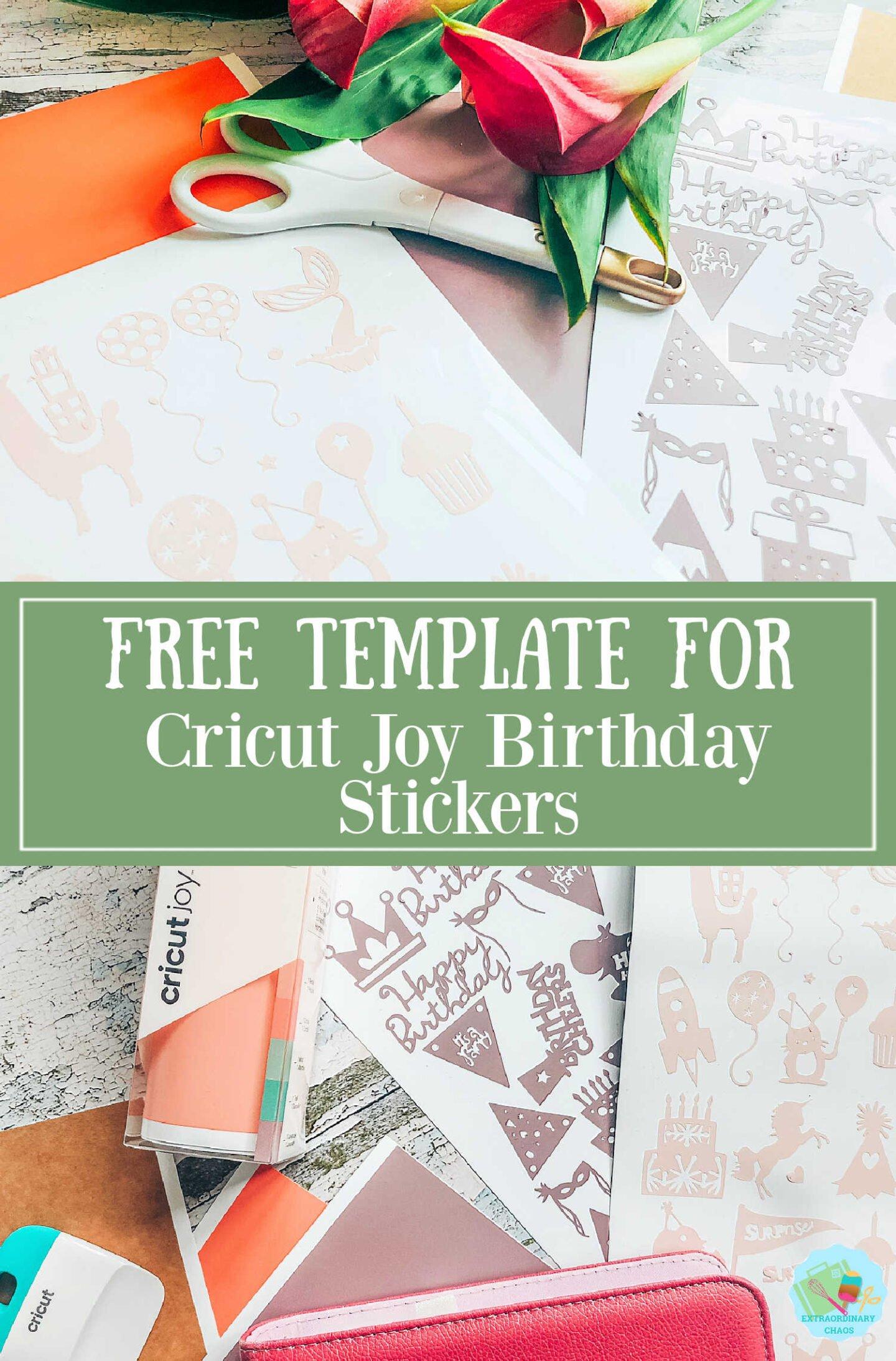 Free template for Cricut Joy Birthday Stickers -2