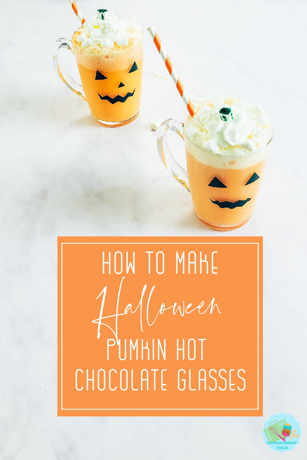 Halloween pumpkin hot chocolate glasses and orange hot chocolate for Halloween parties and trick or treating