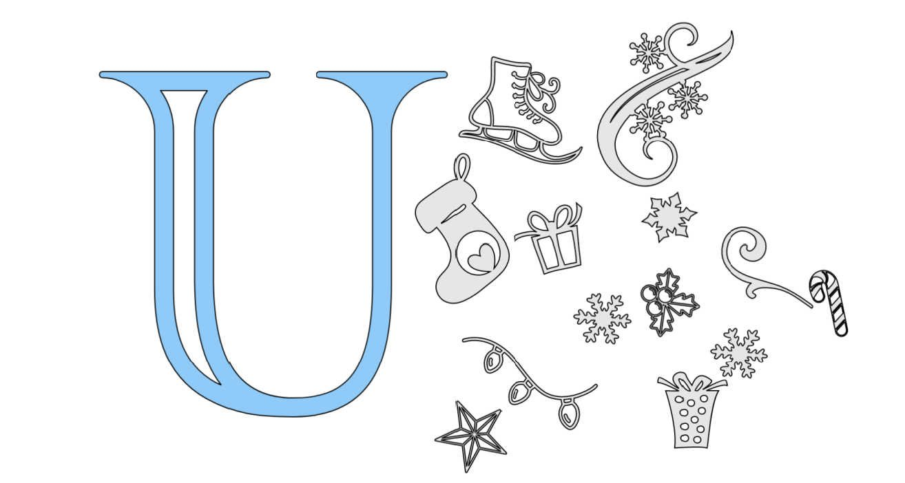 How to create alphabet letter for Christmas