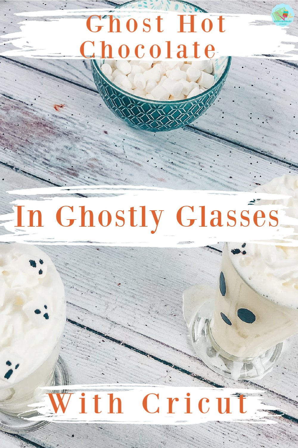 How to make Ghost hot chocolate glasses with Ghost Marshmallows for Halloween Parties -2