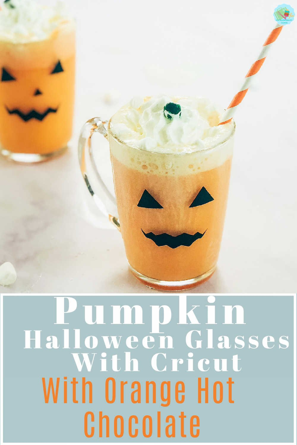 How to make spooky Pumpkin face Halloween Glasses with Cricut Vinyl with Orange hot chocolate topped with cream