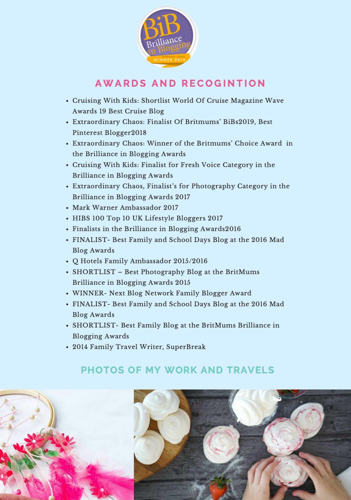 Family lifestyle blogger, Sarah Christie Awards