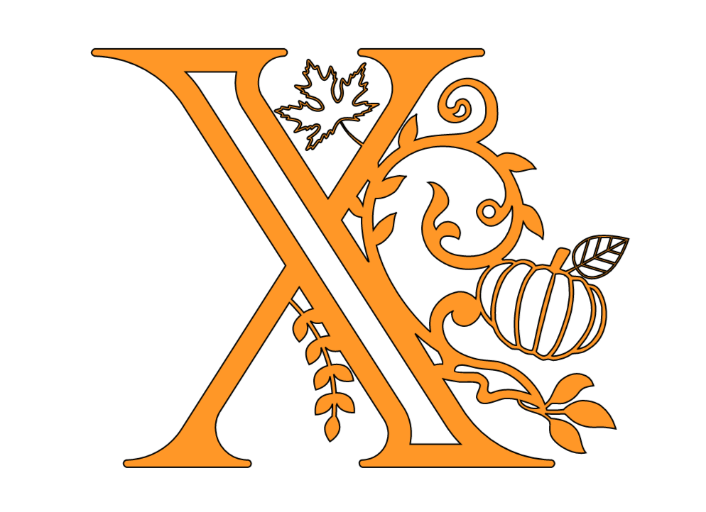 pumpkin and leaf letter x