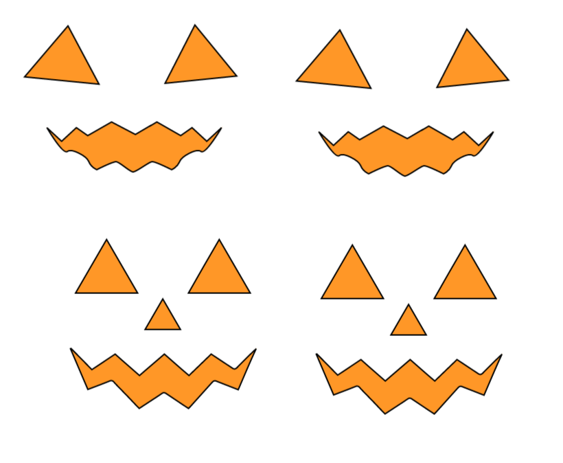 Template for spooky pumpkin faces for Halloween hot chocolate glasses