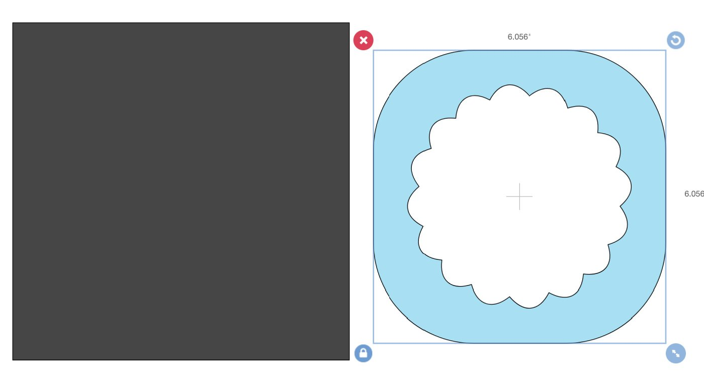 The scalloped image I chose was reversed, I wanted the inner shape, simple choose a square in Cricut Design Space pull it over the scalloped area and slice
