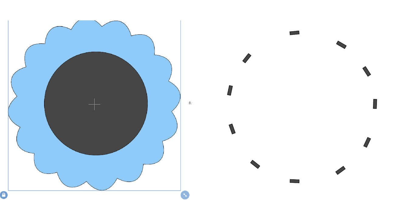 choose a square and unlock to make tiny oblongs, now space these around in a circle to create you cuts and weld together