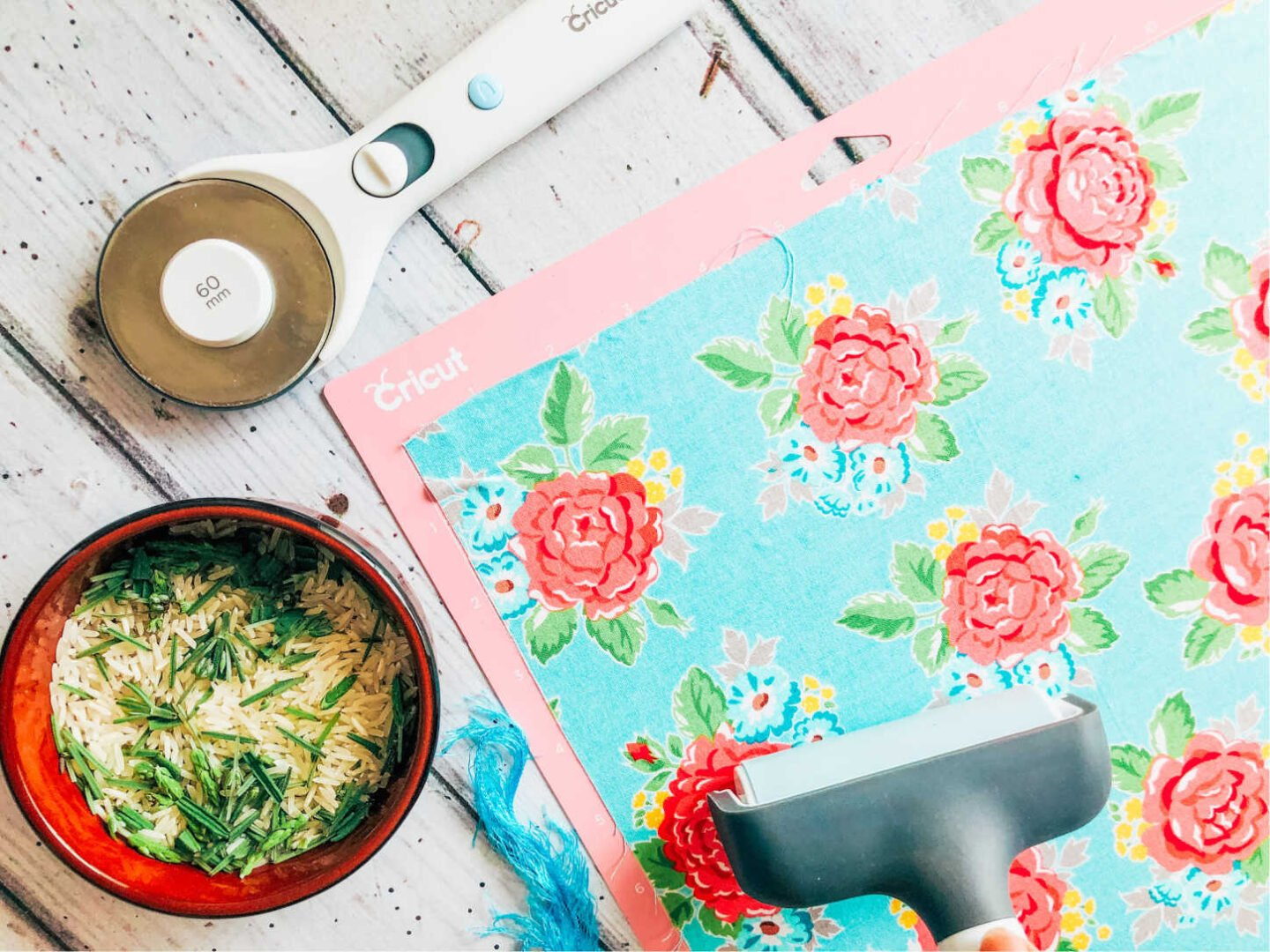 use your Cricut brayer to add the fabric to the pink cutting matt to make  homemade lavender sachets