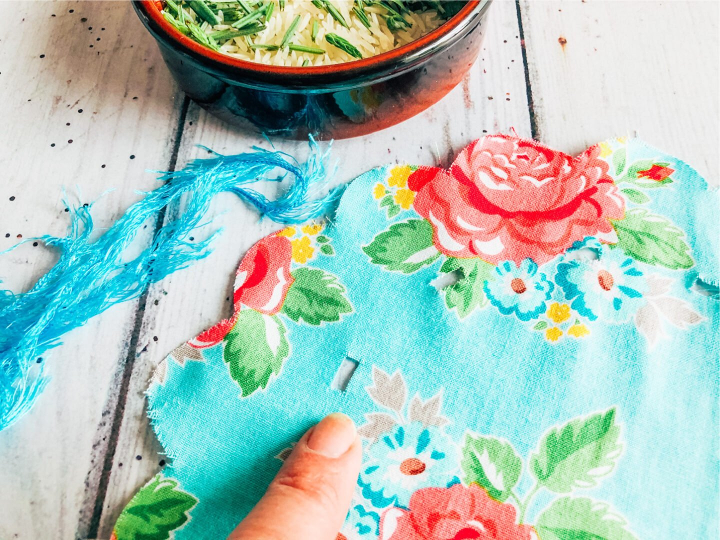 weave your ribbon in and out of the cuts to create your lavender bag