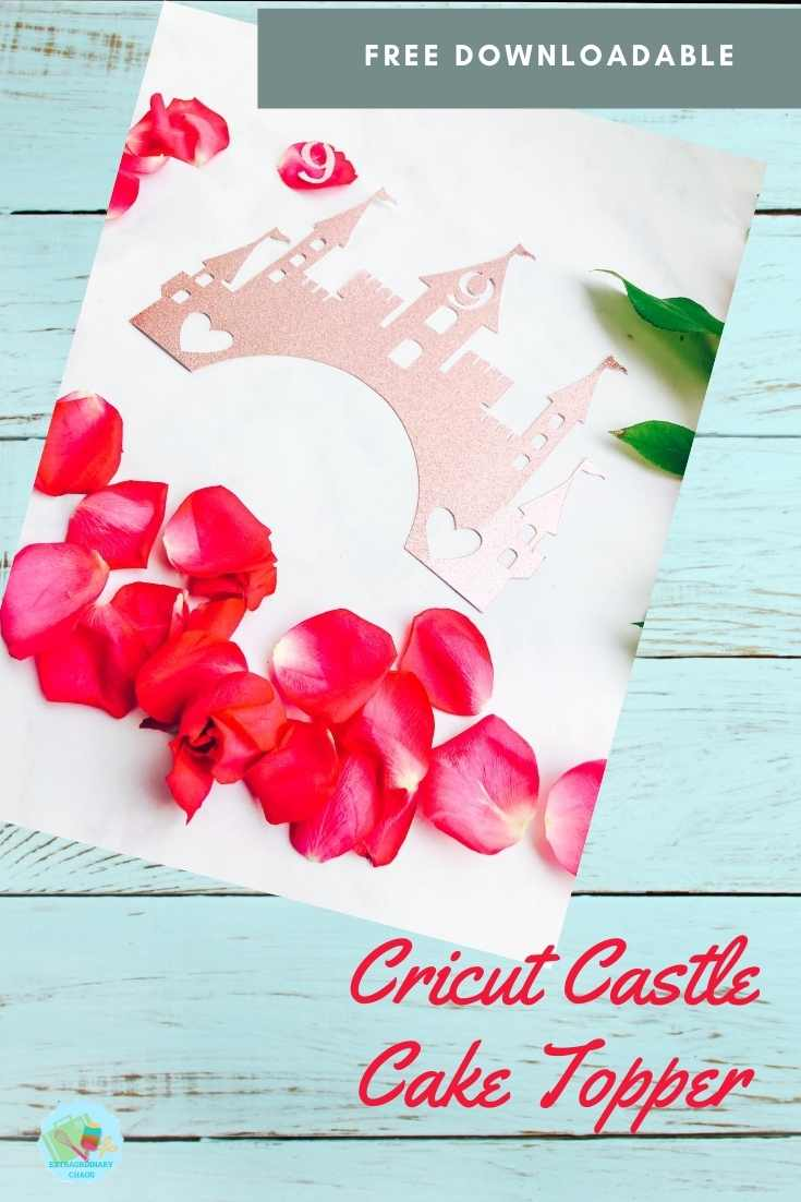 Cricut Castle Cake Topper for birthday cakes of paper cut cut outs and banners