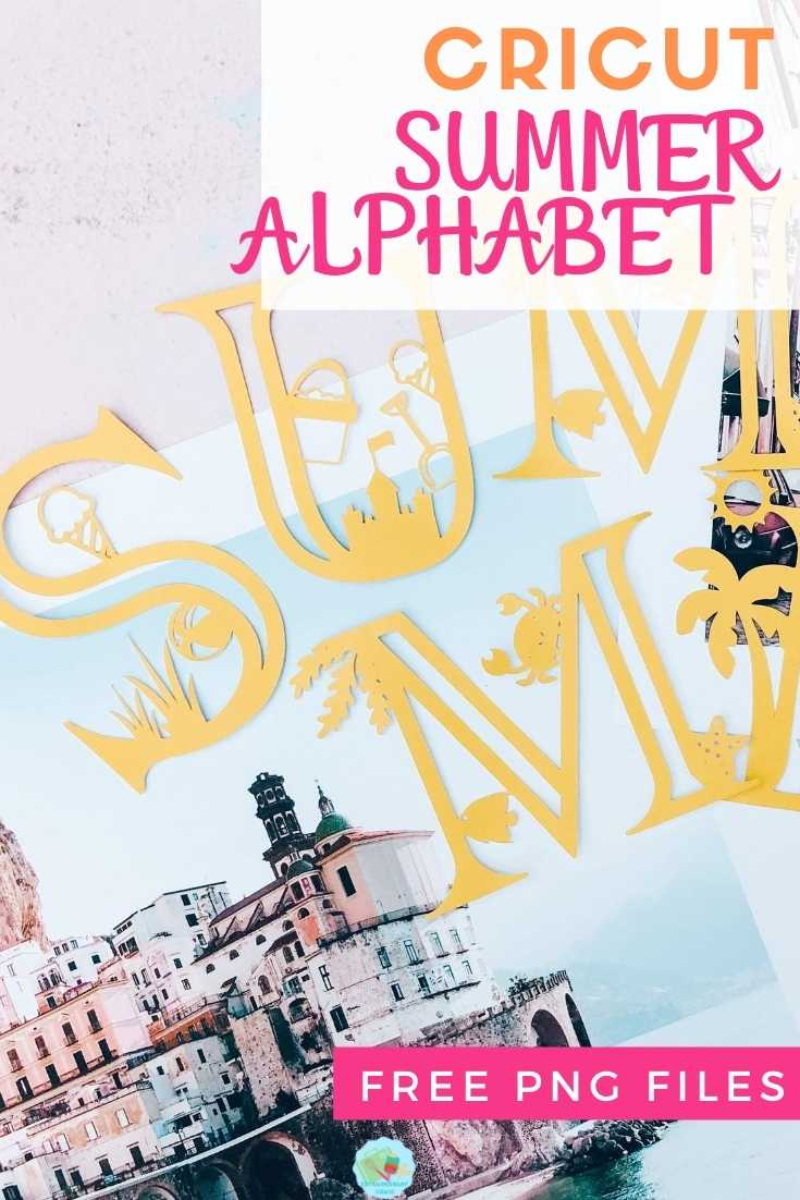 Cricut Summer Alphabet Free PNG Files for multiple projects
