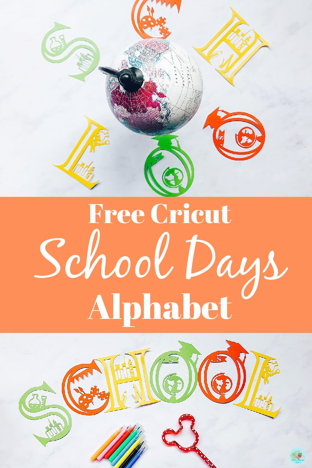 Free Cricut Back To School Letters for craft projects and school days themed decor and banners