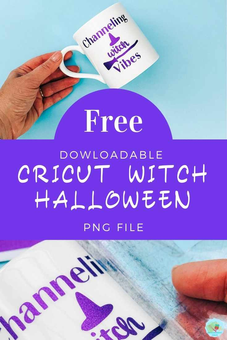 Free Cricut Halloween Witch PNG File for Cricut Halloween crafting projects with permanent vinyl to make cups and mugs copy