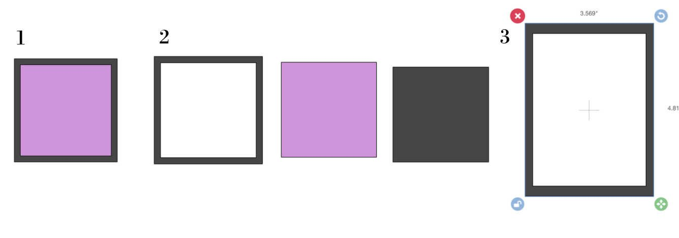 Slicing a square to make a frame in Design space