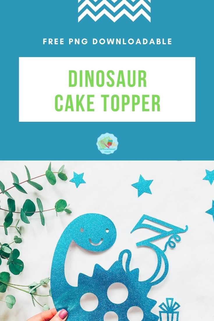 Dinosaur Cake Topper png files for Cricut