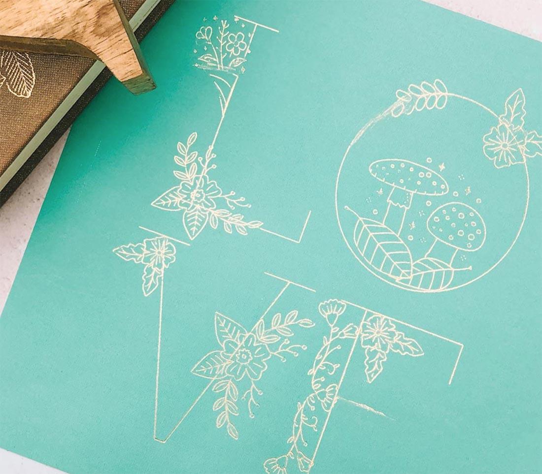 Foil Floral Alphabet Made With Cricut_