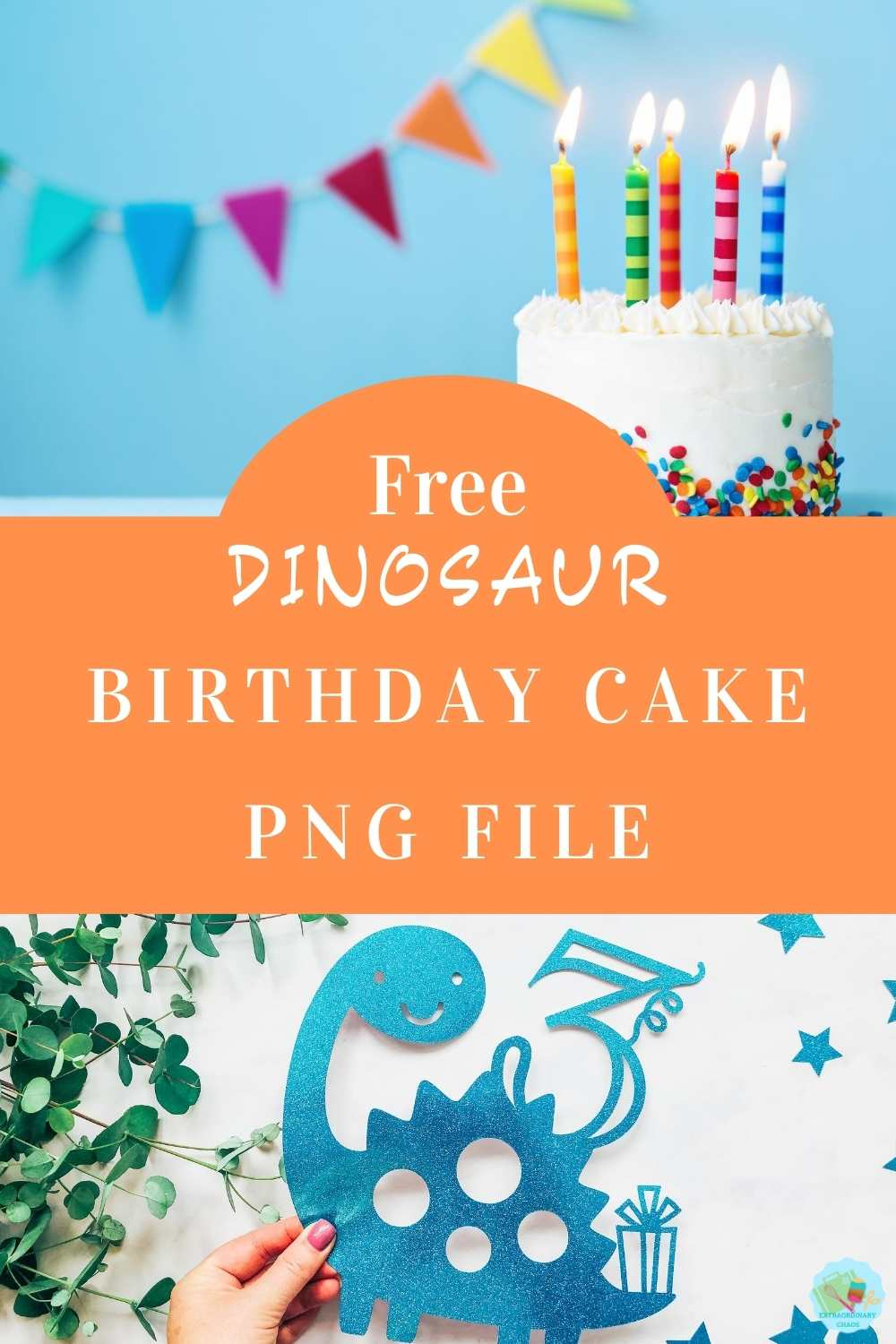 Free Dinosaur Cake Topper PNG File For Kids Themed Birthday Parties