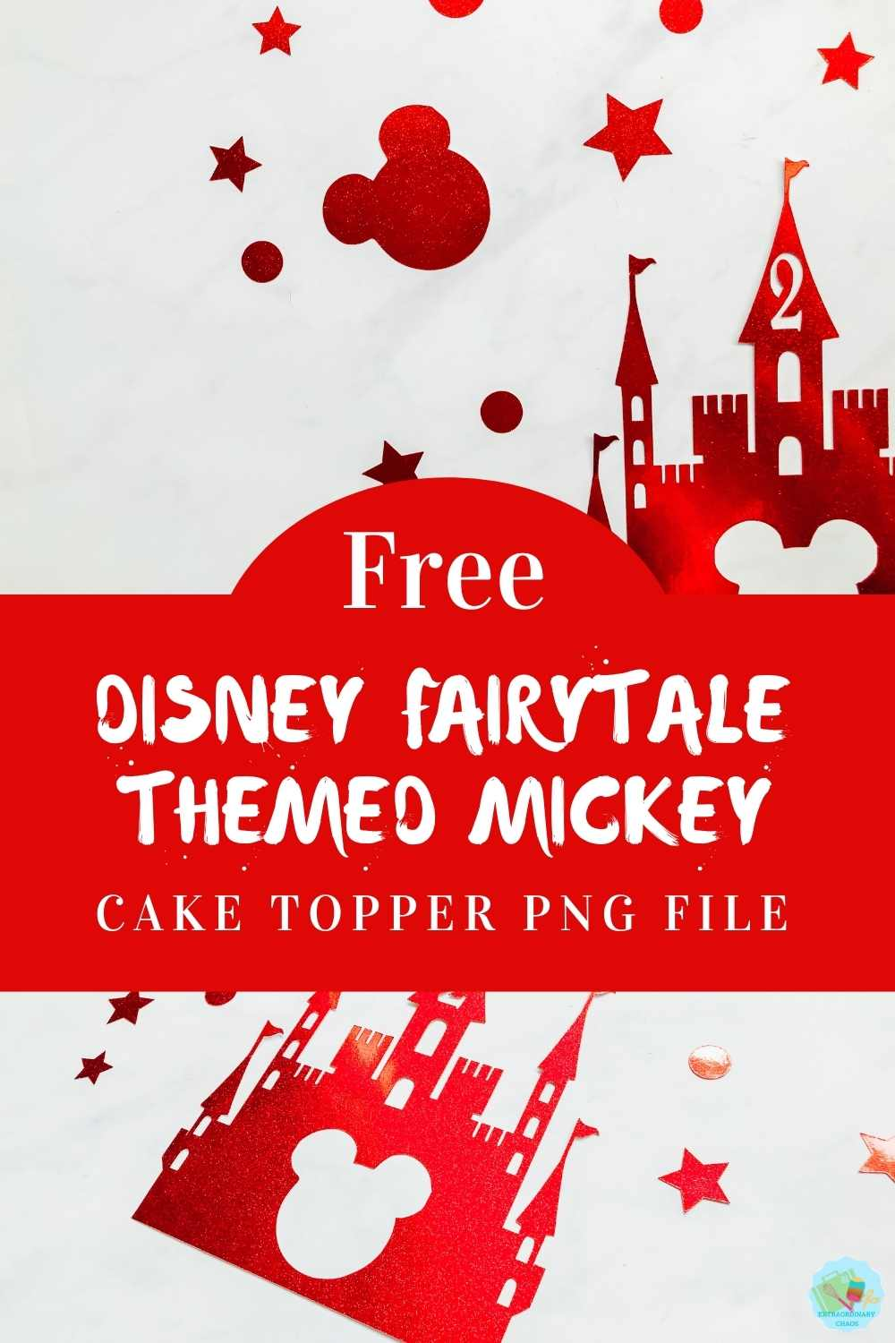 Free Disney Fairytale Themed Mickey Cake Topper for a magical themed birthday cake