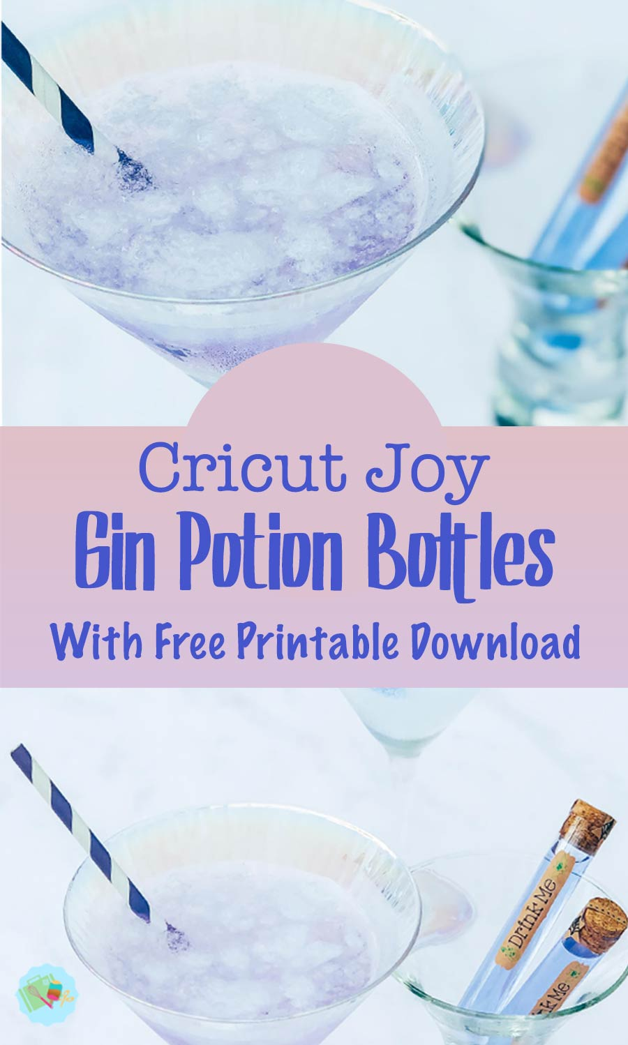 Gin Potion Bottles Made With tHe Cricut Joy and free Printable downloads_