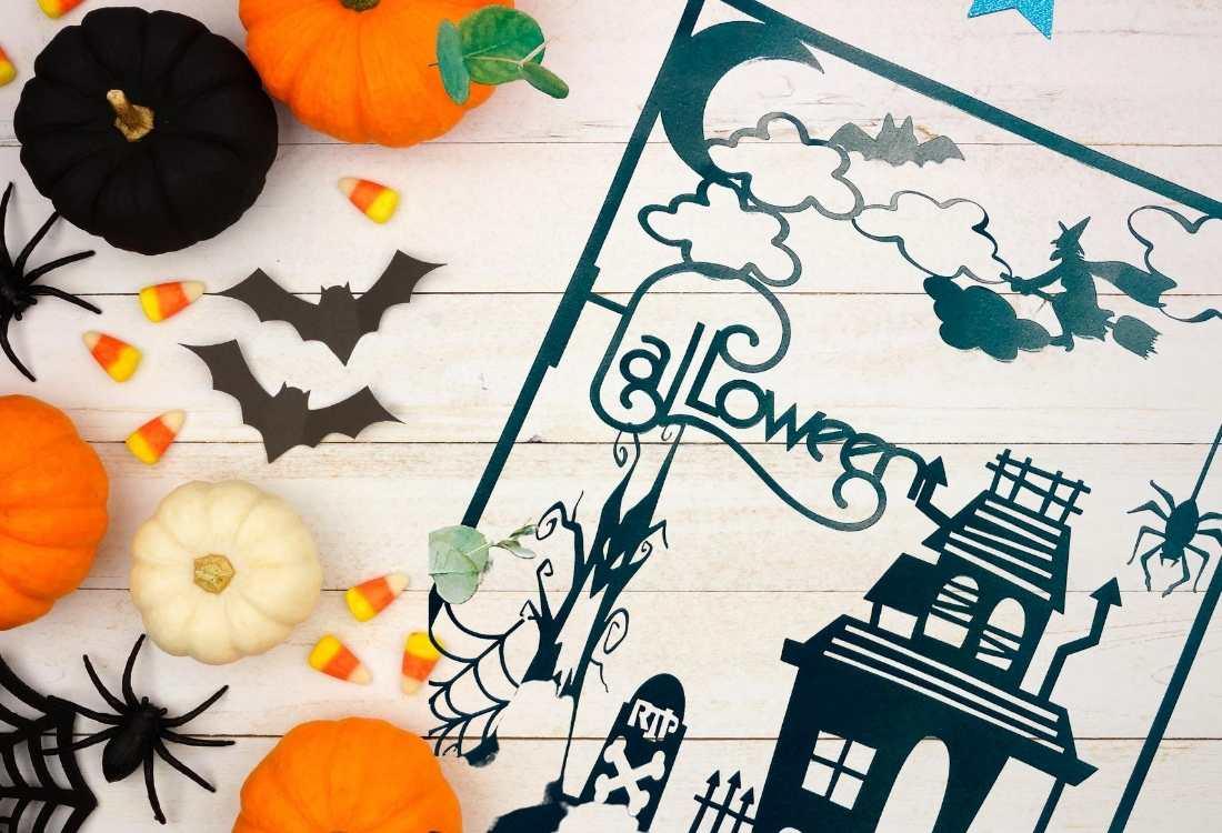 Cricut Halloween Haunted House Paper Cut  downloadable png  files