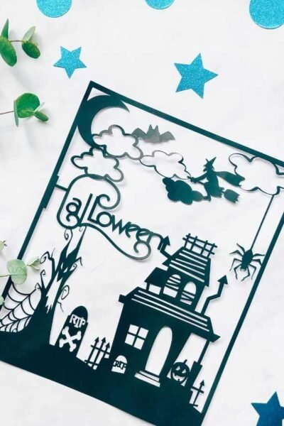 Halloween haunted house Paper cut