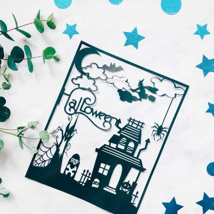 Halloween haunted house Paper cut