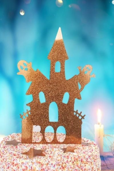 Spooky Haunted House Halloween Cake Topper Cricut PNG Templates