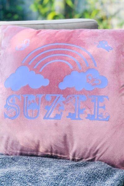 Velour Cushion embellished with Cricut Iron On Vinyl Rainy Days Alphabet