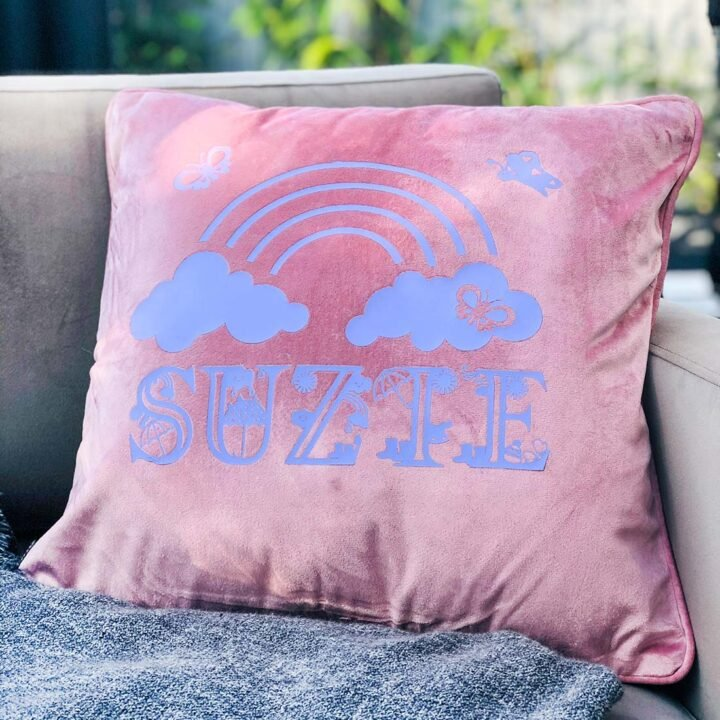 Velour Cushion embellished with Cricut Iron On Vinyl Rainy Days Alphabet