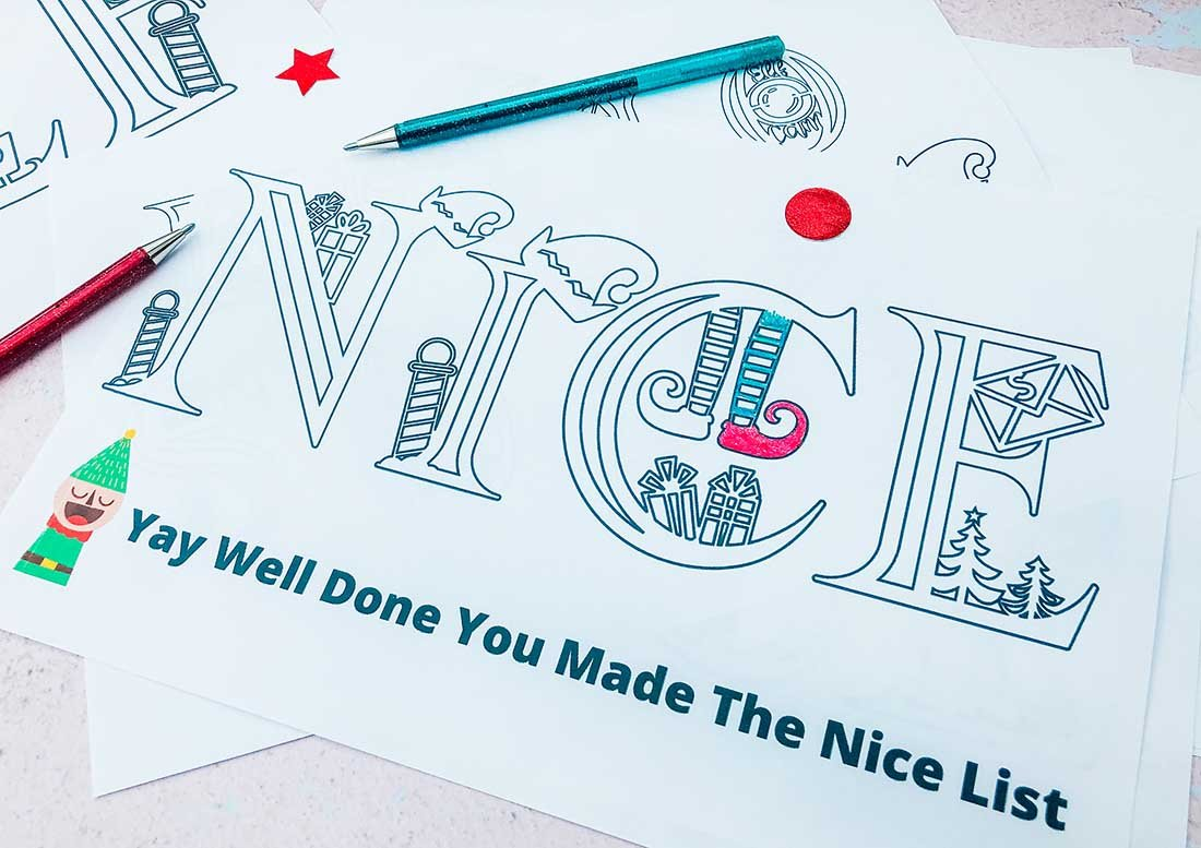 Elf colouring pages to download and personalise