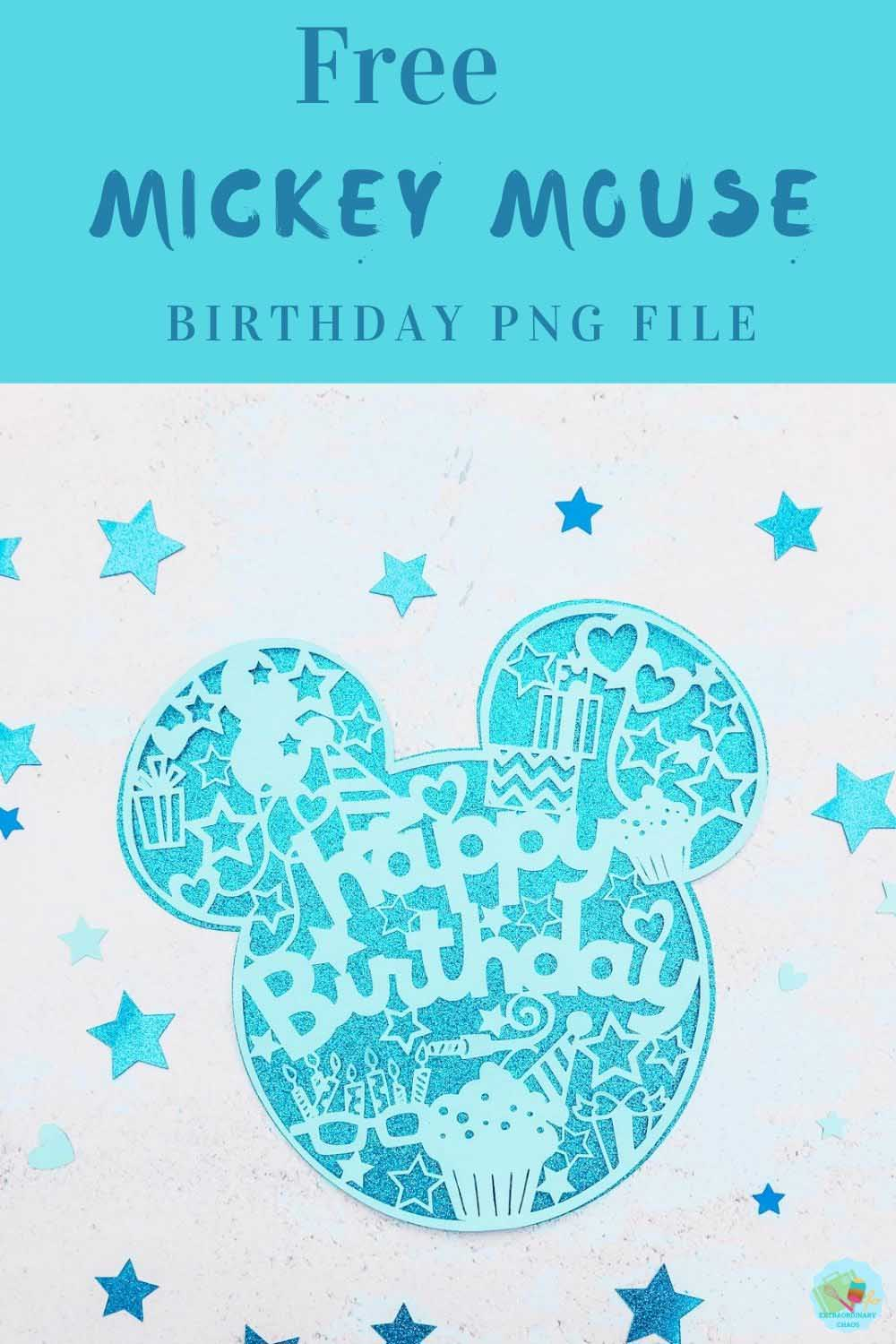 Free Mickey Mouse Birthday png file for Cricut and Silhouette